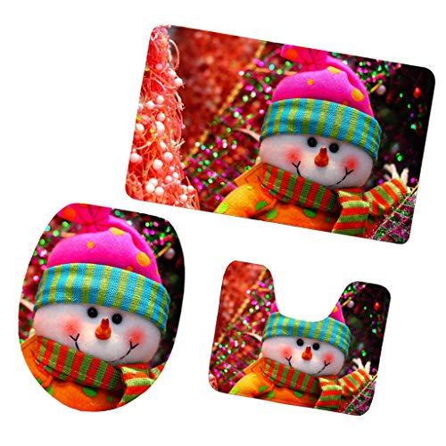 P Prettyia 3pcs Weihnachten Serie Badezimmerteppich, WC-Bodenmatte Set (Teppich + WC-Vorleger + Toilettensitzbezug) - Schneemann