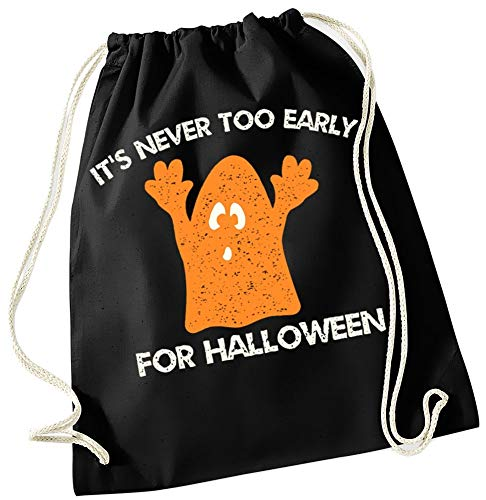 Kostüm Monster Kind Braut Weiße - Coole-Fun-T-Shirts Its NEVER TOO EARLY FOR HALLOWEEN ! Turnbeutel Rucksack Tasche für Kinder Schwarz