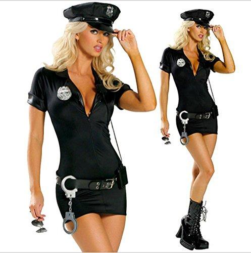 FENGHAO Frauen-schwarze Polizei-Halloween-Wäsche-Abendkleid-Polizist-Offizier-Uniform-Frauen Kostüm-Ausstattungs-Minikleid , (Mode Kostüme Polizei Sexy)