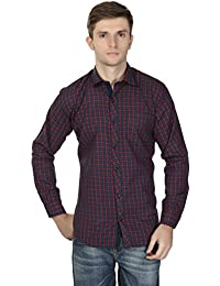 eoigE™ Navy Blue & Red Full Sleeves Men's Shirt