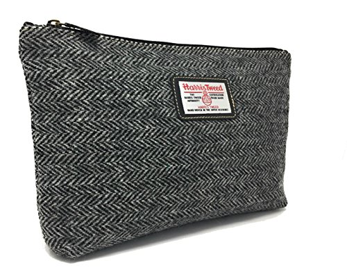 Harris Tweed Schwarz Herringbone Pflege Washbag