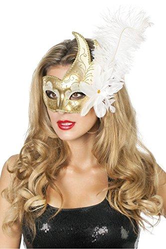 Weiße Feder Maske - Jannes 34352 Venezianische Maske mit großer