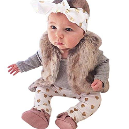 GiGiSun 1 Satz Neugeborenen Jungen Mädchen Tragen Tops Strampler Hosen 3 STÜCKE Outfits Kleidung (80)