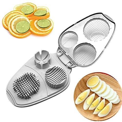 Eierschneider für mehrere gekochte Eierschneider - 3 in 1 Eierschneider - Edelstahl Hobel & Zerkleinerer Doppeleierwürzer Salatschneider Free Size weiß