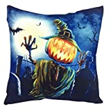 Bluester Two-Side Printing Halloween Pumpkin Sofa Bed Home Decor Square Throw Pillow Case Cushion Cover (C)