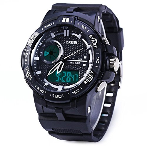 HUKOER Men's Sport Analog And Digital Dual Time Zones Rubber Band Sports Wrist Watch Sliver/Blue/Orange (Silver)