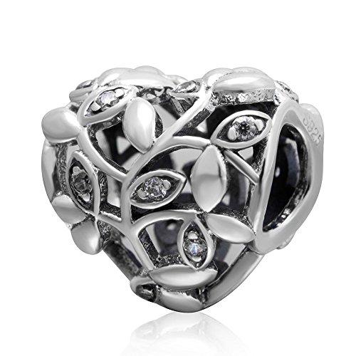 Soulbead Openwork foglia ciondolo a forma di cuore in argento Sterling 925Love Bead con zirconi cubici trasparenti per marchio europeo braccialetto gioielli