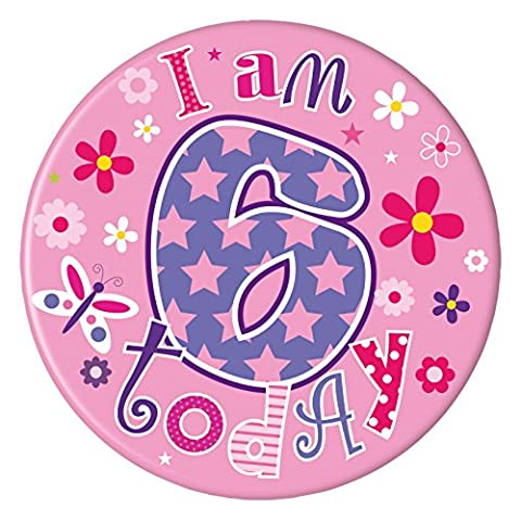 Girls Happy Birthday Badge 15cm - Age 6