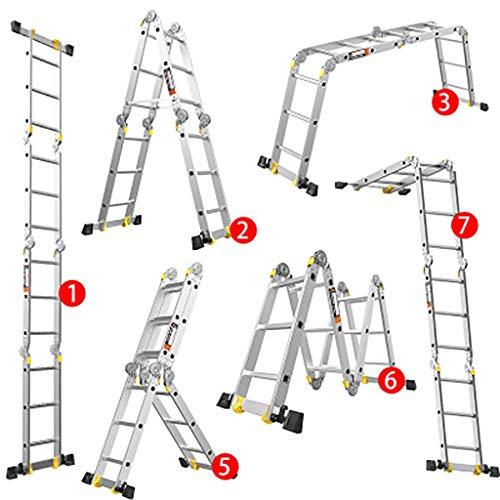 Aluminium-legierung Zusammenlegbar Leiter,mehrzweck Erweiterung Leiter Portable Treppenleiter Teleskop Leiter-5.0mm 1.8+1.8m (Storage-schuppen Portable)