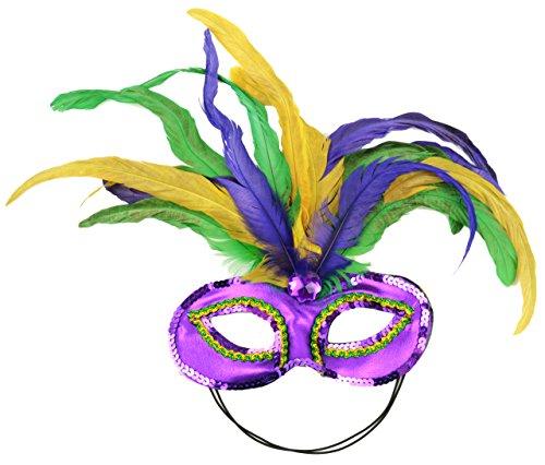 Maske ES 48038Mardi Gras Satin und Feder Halbmaske, Mardi Gras (Federn Gras Mardi)
