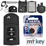 Mazda Autoschlüssel Funk Fernbedienung Austausch Gehäuse mit 3 Tasten + Rohling + Batterie für Mazda 2 DE 6 GH CX-7 ER MX-5 NC 3 BL 5 CR A