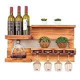 ZH-0 Wandmontiertes Weinregal aus Holz mit Glashalter, Multifunktionales Wandregal, Handgefertigter Weinflaschehalter aus massivem Holz, rustikale Kiefer, 28×6×14,5 Zoll