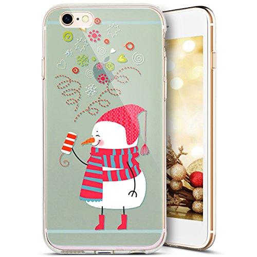 iPhone 5C Hülle,SainCat iPhone 5C Silikon Hülle Tasche Handyhülle Christmas Weihnachten Muster [Weihnachtsmann Schnee] Schutzhülle Transparent TPU Gel Case Bumper Weiche Crystal Kirstall Clear Silikon Weihnachten Schneemann