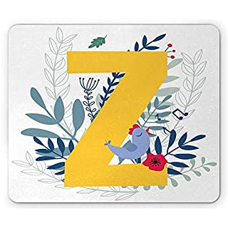 Drempad Gaming Mauspads, Letter Z Mouse Pad, The Last Letter of The Alphabet with Colorful Background Flower Composition ABC, Standard Size Rectangle Non-Slip Rubber Mousepad, Multicolor