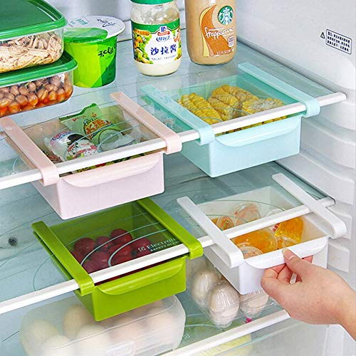 Regal Haushaltsregal Standregal Multifunktionale Kühlschrank Aufbewahrungsbox Kunststoff Küche Kühlschrank Gefrierschrank Schublade Partition Finishing Rack Küche Platzsparende Organisation (4 Stücke) -