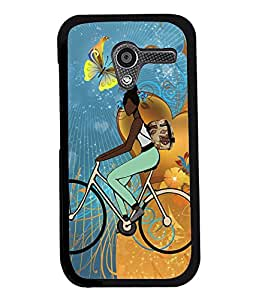 Fuson Cycling Girl Back Case Cover for MOTOROLA MOTO X - D3793