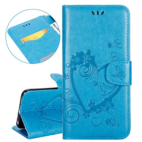 ISAKEN Custodia iPhone 6 Plus, Cover iPhone 6S Plus, Elegante borsa Custodia in Pelle Protettiva Flip Portafoglio Case Cover per Apple iPhone 6 Plus (6 5.5) / con Supporto di Stand / Carte Slot / Chi Amore: blu
