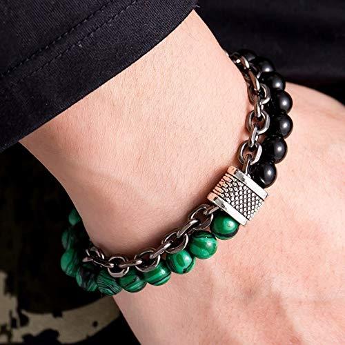 FHDO Armbänder Armband Für Männer Glas Karte Stein Perlen Kette Edelstahl Schwarz Gunmetal Tone Herren Armbänder, Malachit Obsidian - Glas-steinen Karte