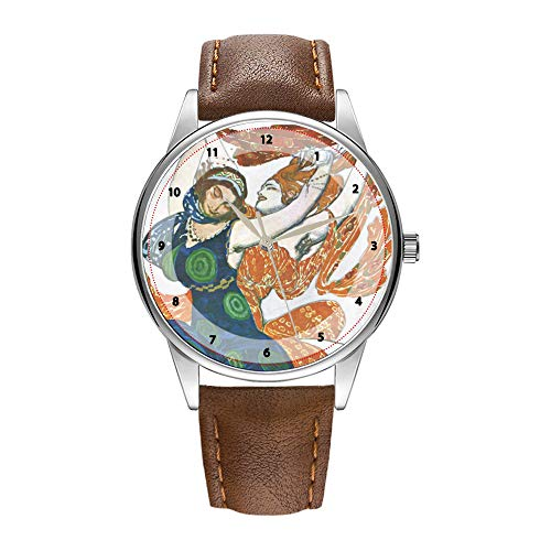 Herrenuhr braune Cortex Quarz-Uhr für Männer berühmte Luxus-Armbanduhr Quarzuhr für Werbegeschenke Jugendstil-Opern-Kostüm-Designs - Leon Bakst Armbanduhren