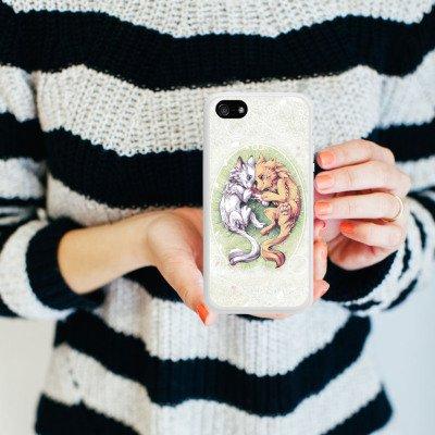 Apple iPhone 4 Housse Étui Silicone Coque Protection Chien Loup Dessin Housse en silicone blanc