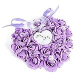 yosoo Box Handtuchring 15x 13in Form von rosa Romantische weiß helfen Heirat Schatulle Elegantes mit der Mond Zubehör Hochzeit Festzug, violet (pourpre)