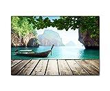 DEINEBILDER24 - Wandbild XXL Blick von Steg auf traditionelles Boot, Thailand 80 x 120 cm auf...
