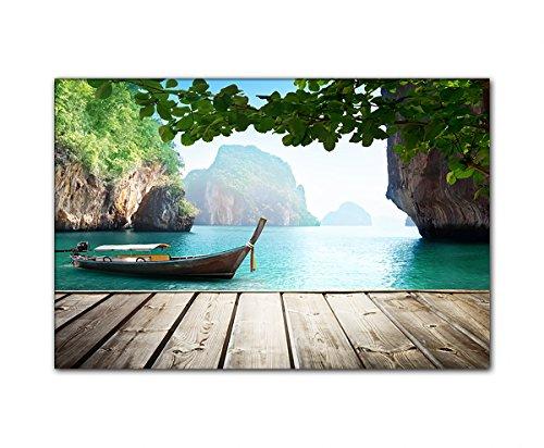DEINEBILDER24 - Wandbild XXL Blick von Steg auf traditionelles Boot, Thailand 80 x 120 cm auf Leinwand und Keilrahmen. Beste Qualität, handgefertigt in Deutschland!