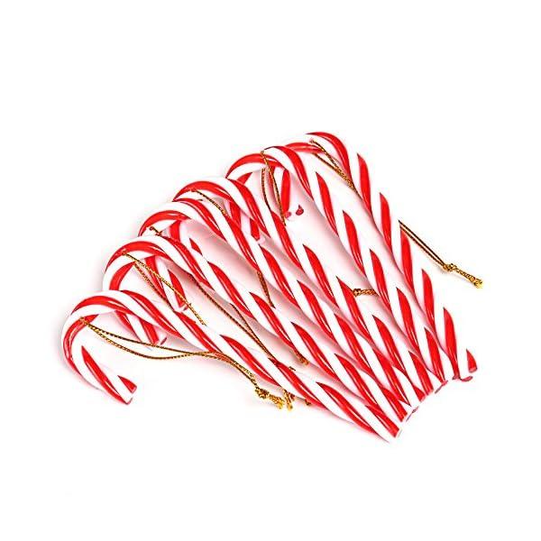 Naler 12PCS plastica Albero di Natale Rosso e Bianco Candy Cane Hanging Wall Home Party Decorazioni Ornamenti 2 spesavip