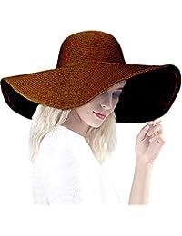 DRESHOW Sombrero de paja Big Bowknot para mujer Floppy plegable Gorra de  playa Sun Hat UPF 020780b1d19