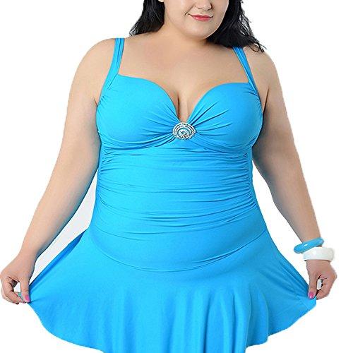Spring Fever Damen Plus Größe Pin-Up Polsterung TinkSky Rücken Schwangerschaftsbadeanzug V-Ausschnitt Badeanzug Blau
