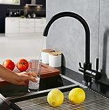 Tourmeler Filtro de agua de osmosis de tres vías Grifos de lavabo de tres vías Mezclador de agua giratoria de purificación 3 en 1 Grifería de cocina Mate negro / cepillado níquel, Negro