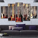 xzfddn Wandkunst Moderne Bilder HD Druckt Wohnkultur 5 Stücke Bass Gitarre Collage Leinwand Malerei Wohnzimmer Musik Poster