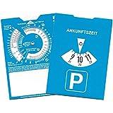 2x Auto Parkscheibe aus Karton Pkw KfZ Parkuhr Reise-Rechner und Firmenstempel