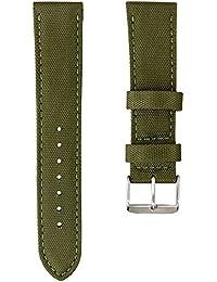 Bracelet de Montre Geckota® Sport en Nylon, Rembourré, Résistant, Qualité et Confort, Vert, 20mm