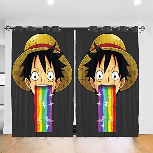 HONGYANW - Tende oscuranti Personalizzate, in Un Unico Pezzo, con scimmietta D Luffy Puking Rainbow Snapchat, Filtro con Occhielli, per Camera da Letto e Soggiorno, 132 x 183 cm, 2 Pannelli