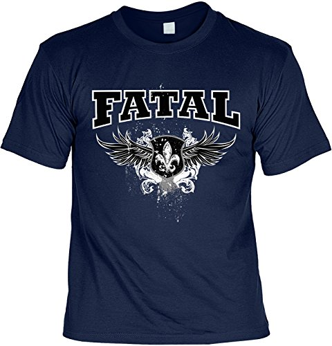 Biker & Motorrad T-Shirt Fatal Wings Shirt 4 Heroes Geburtstag Geschenk geil bedruckt Navyblau