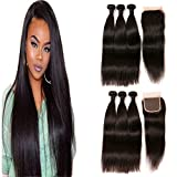 Daimer Tissage Peruvian en lot 4x4 Closure Straight Natural Weave 3 Paquets Tissage Cheveux Humains Péruvien en lot pas cher Naturel 22 24 26 +20 Closure