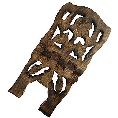 Porte-livre 25cm pliable en bois de manguier Motif Fleur Artisanat indien