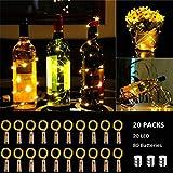BACKTURE Luci per Bottiglia, 20 Pezzi Luci Stringa per Bottiglia di Vino, 2M 20LED Catena Luminosa Impermeabile per DIY, Natalizie, Halloween, Matrimonio, Idea regalo - Bianco caldo