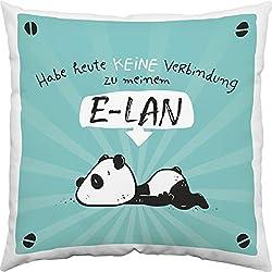 Sheepworld Hope y Gloria 45665Algodón Animales Diseño de Oso de Panda, Ornamentales Cojín con Mensaje no he Hoy Conexión A Mi S, Funda de Cojín (LAN Relleno: 100% poliéster, Azul, 40cm x 40cm