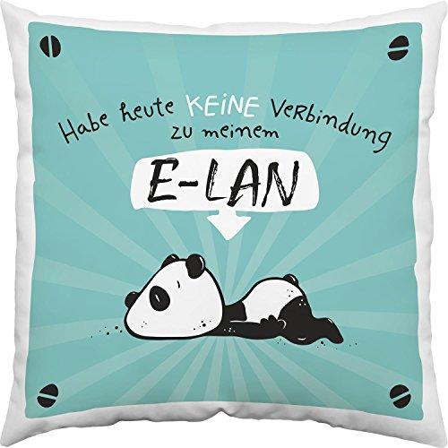 Sheepworld 45665 Hope und Gloria  Baumwoll-Kissen mit Tier-Motiv Panda-Bär, Zier-Kissen mit Spruch Habe Heute Keine Verbindung zu Meinem E-LAN, 40 cm x 40 cm, Blau