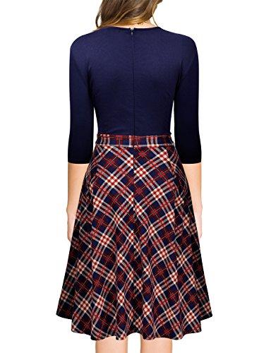 Miusol Damen 3/4 Arm Vintage 50er Kleid Knielang Abendkleid Cocktail Abendkleid Blau Gr.S - 2