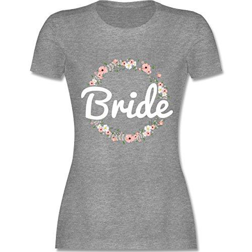 Shirtracer JGA Junggesellinnenabschied - Bride Blumenkranz - L - Grau Meliert - L191 - Damen T-Shirt Rundhals