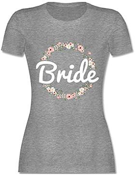 JGA Junggesellinnenabschied - Bride Blumenkranz - tailliertes Premium T-Shirt mit Rundhalsausschnitt für Damen
