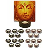 TYYC Diwali Gifts Musing Lord Buddha Tealight Holder Diwali Decoration Candle Lights For Puja, Home, Office Set Of 51