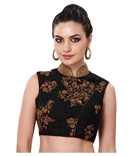 Fabkaz Women's Banglory Silk With Embroidery Work Blouse (Black)