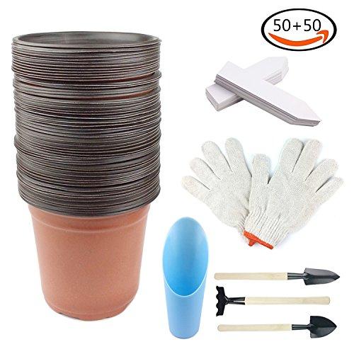 Whonline 50pcs Macetas de jardín de doble color de plástico de 15cm, 50pcs etiquetas blancas de plantas, un par de guantes de jardinería, una pala de jardinería, una cuchara de pala