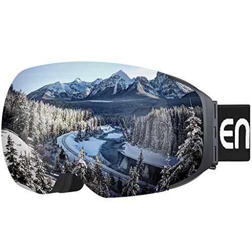 Enkeeo Skibrillen Snowboardbrille Abnehmbare Dual-Layer Anti-Fog Linse 100% UV400 Schutz, Bendable Frame, Anti-Rutsch-Gurt mit Komfort, Wind-beständig 3 Ebenen Schaum für Erwachsene Snowboarding Skating (Gelb) (Grau)