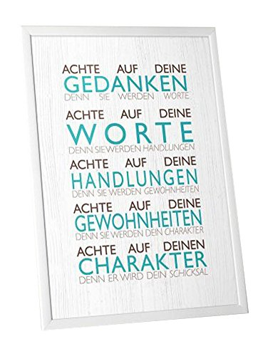 Achte auf deine Gedanken - Worte - Handlungen - Gewohnheiten - Charakter - Print in DINA4