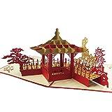 Vektenxi Retro 3D China Suzhou Garten Pavillon Muster Pop Up Grußkarte Einladungskarten - Red Durable und nützlich